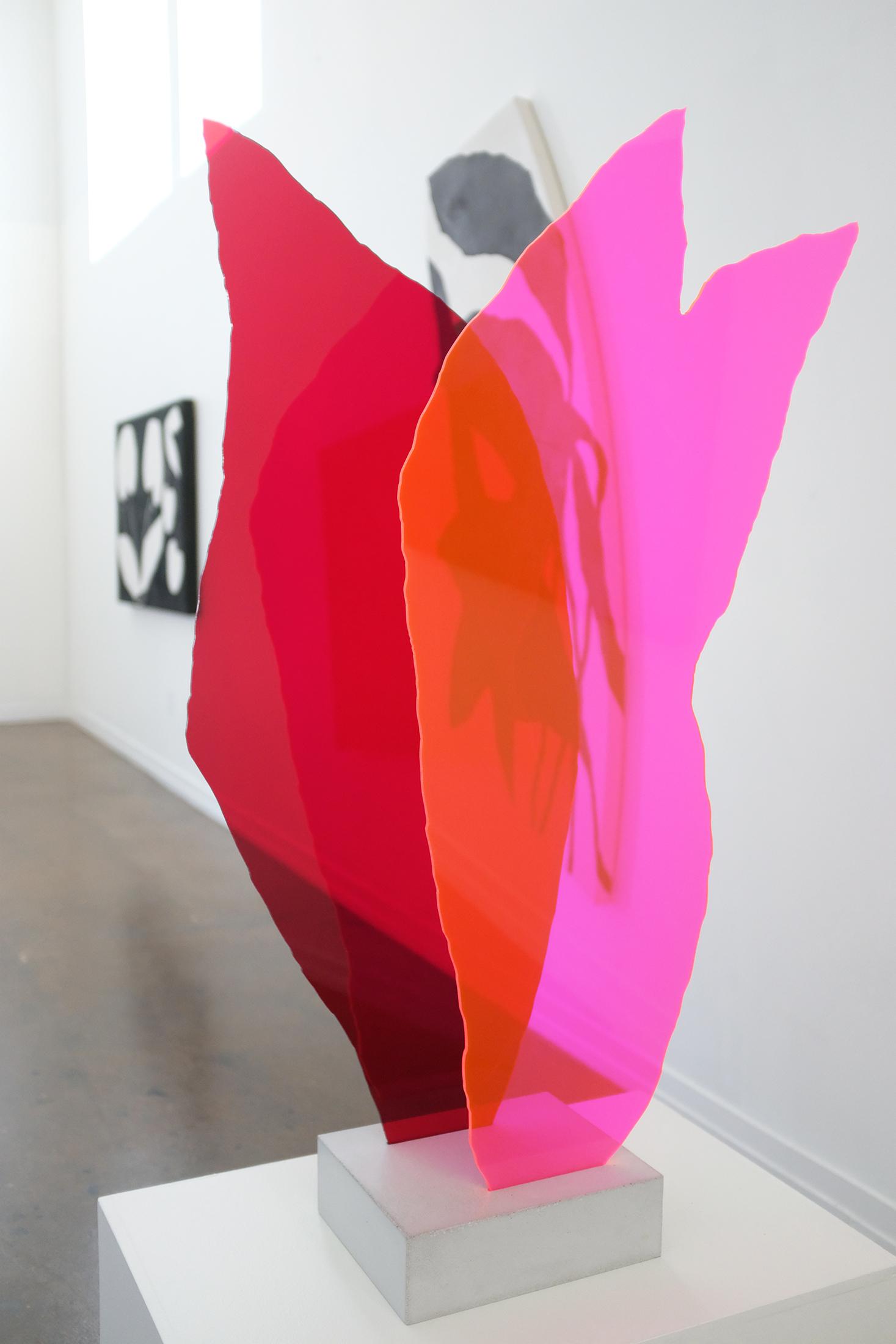 pink + red standing sculpture