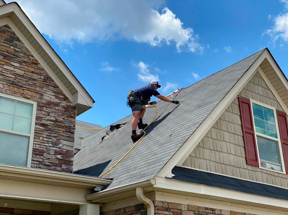 Roof repair for a residence in Augusta.