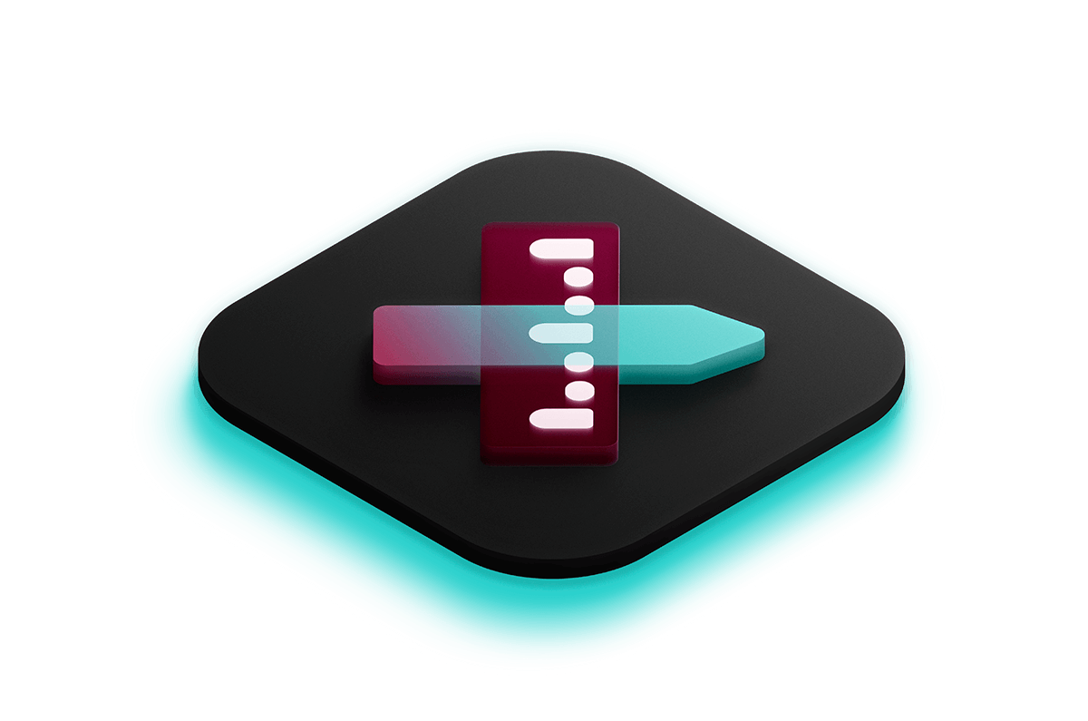 3D isometric icon of an edit icon lit by a bright teal light from below.