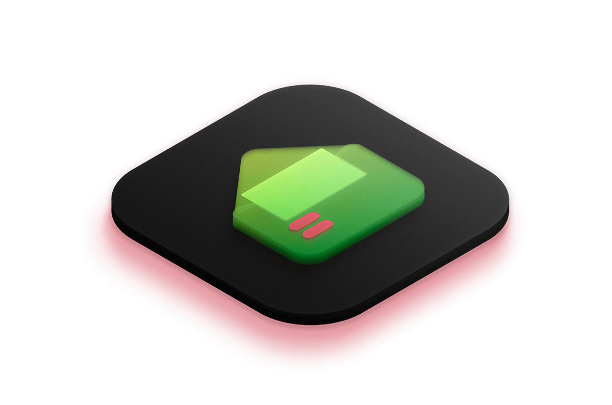 3D isometric icon of an email app lit by a bright green light from below.