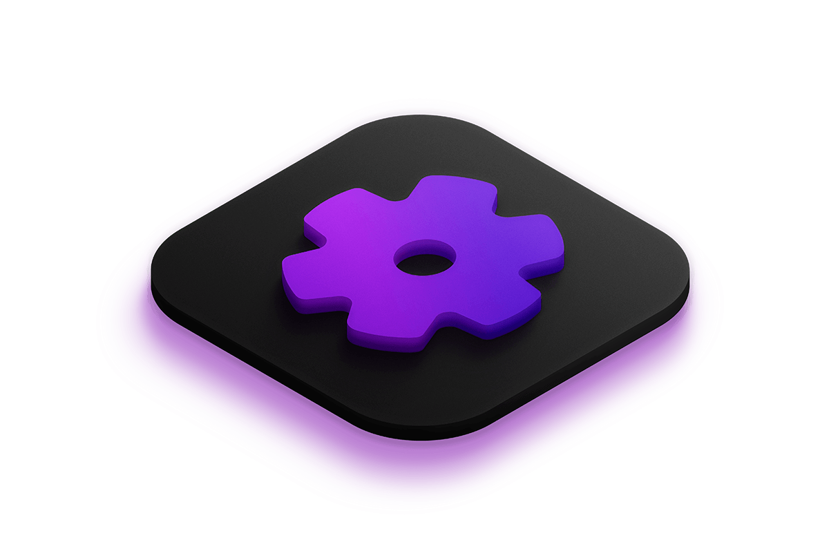 3D isometric icon of a gear lit by a bright purple light from below.