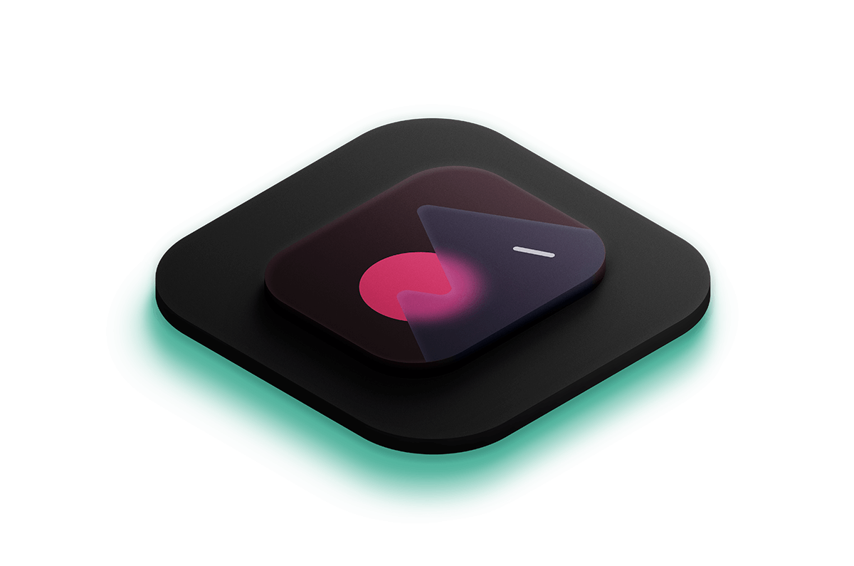 3D isometric icon of a photo icon lit by a bright teal light from below.