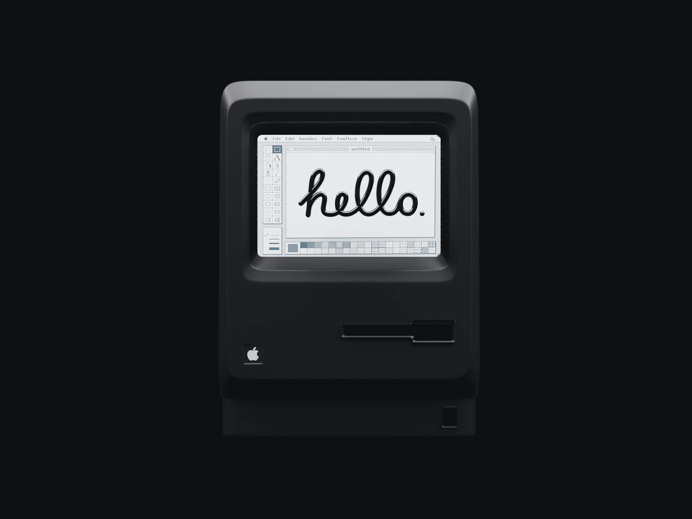 A faded black and white photo of and old Macintosh computer from the 80's. on the screen the word hello written inside an early version of paint.
