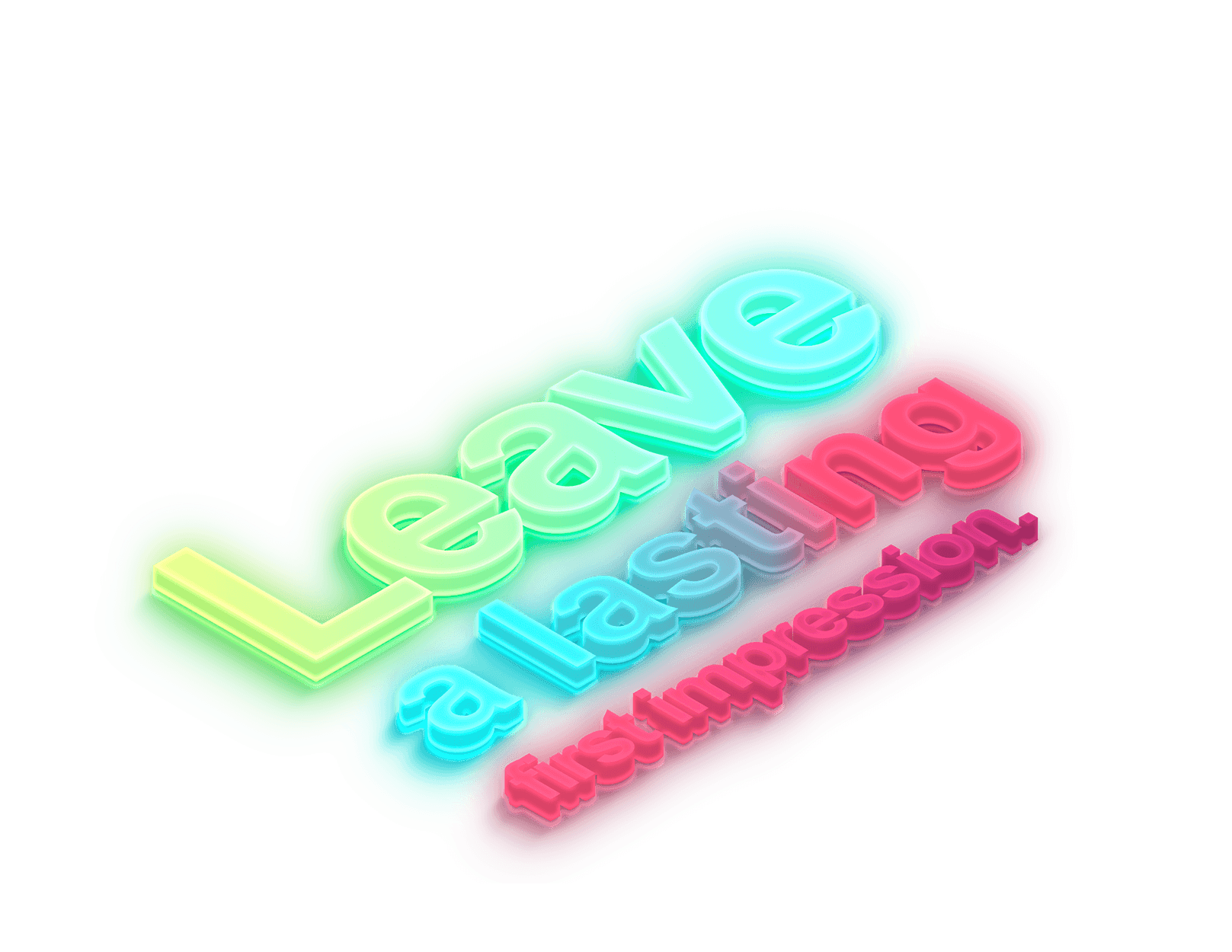 """3D isometric icon of the words """"Leave a lasting first impression."""" lit by color lights below."""