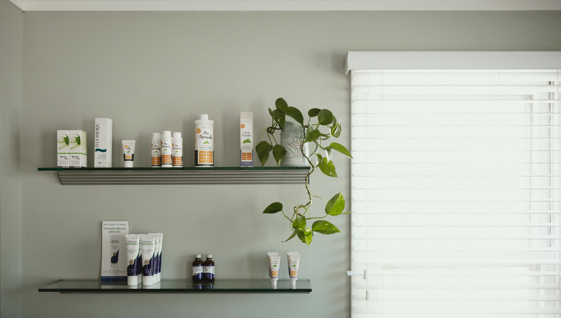 Photo of a shelf with dental products at our Marlton practice