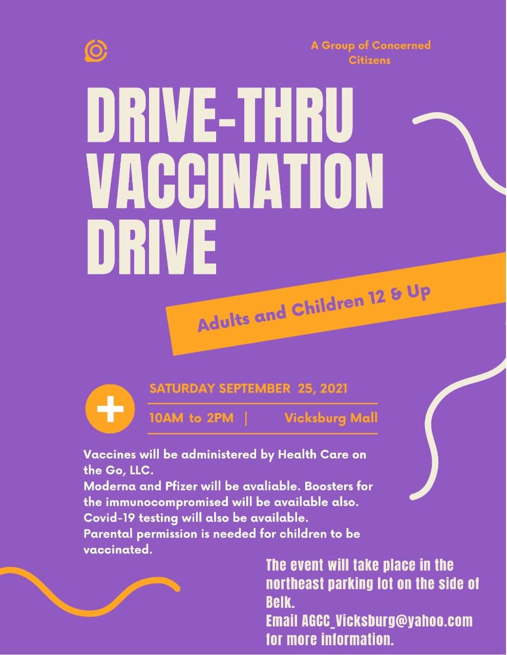 COVID-19 Drive-Thru Vaccination Event flyer