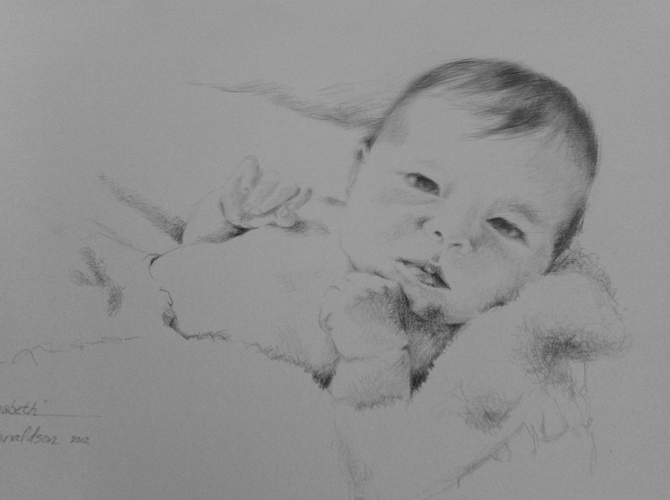 Baby Portraits, graphite pencil