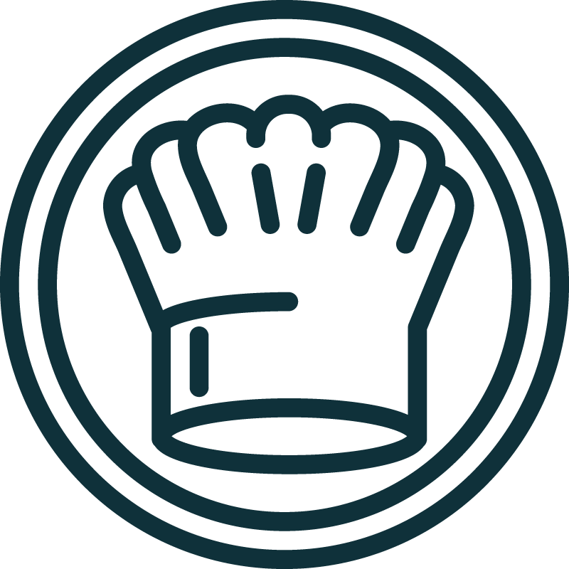 blue icon of chefs hat