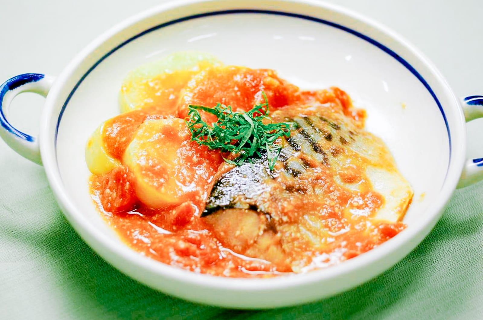 レンジでさば味噌トマト煮