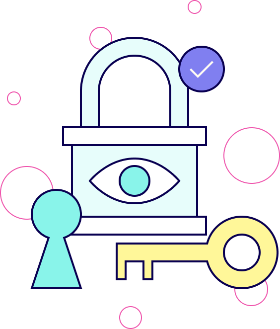 Illustration representing secure and private data.