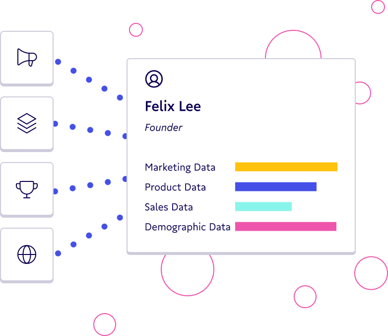 Illustration showing a user profile with different data sets.