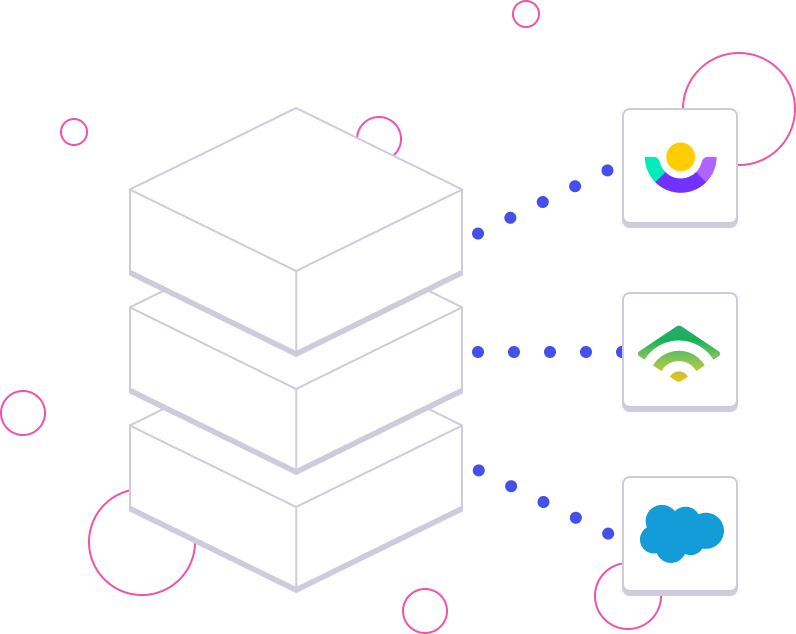 Illustration of a data stack from multiple data sources.