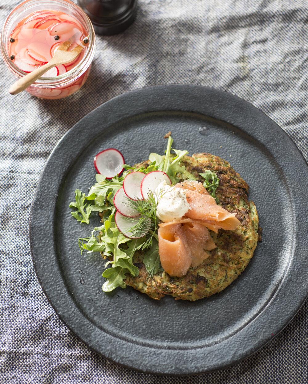 Red Potato and Ricotta Pancake with Smoked Salmon