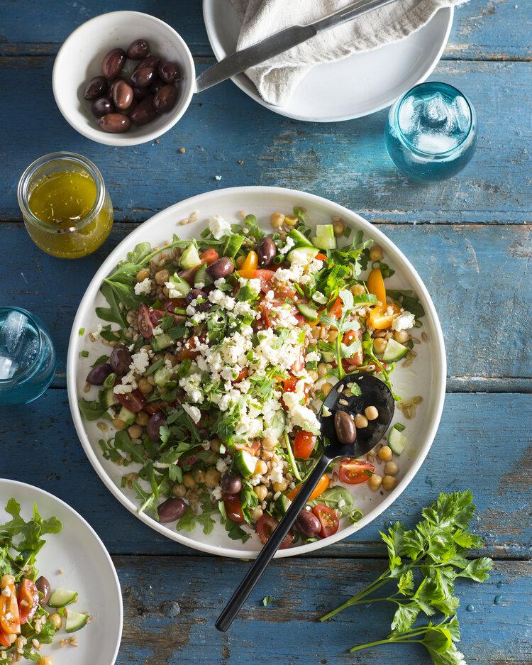 Rocket and Farro Greek salad