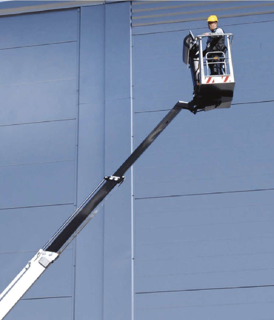 Boom lift with worker on it