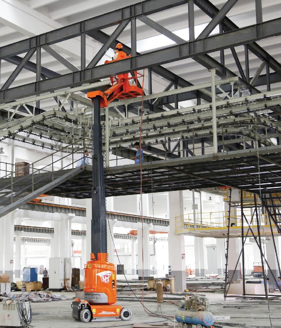 Vertical lift inside a warehouse