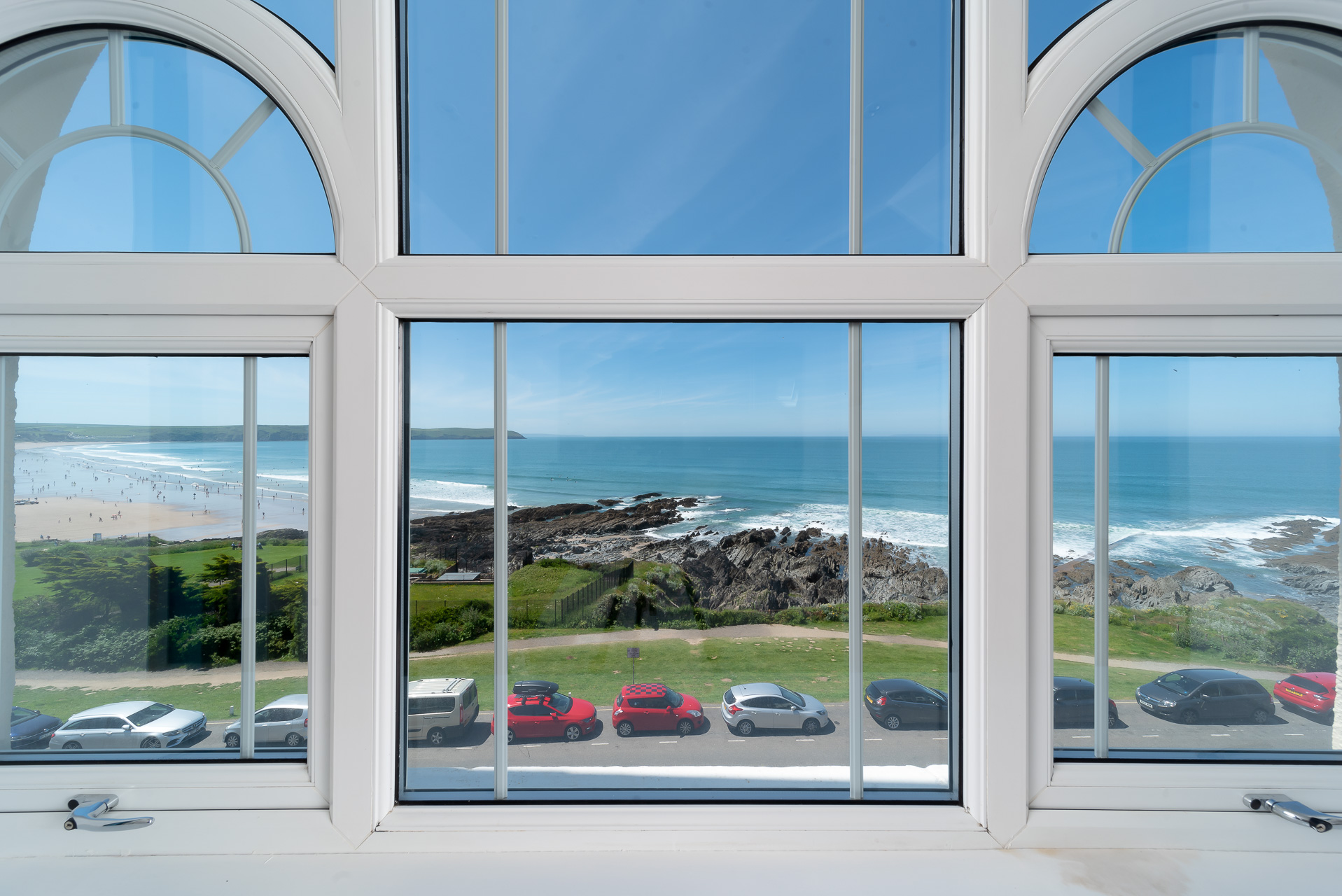 View overlooking Woolacombe Beach through the unique window at Woolacombe Penthouse