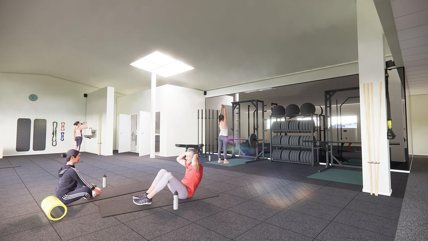 En 3D-rendering av träningsstudion