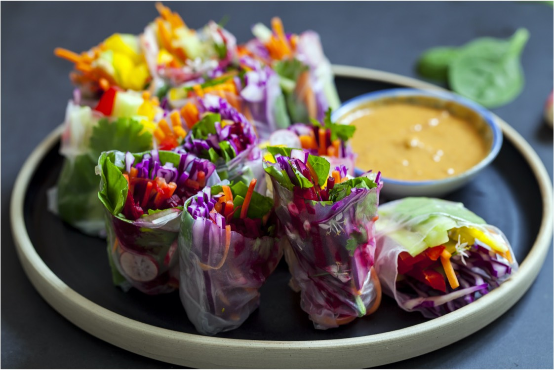 A plate of veggie spring rolls