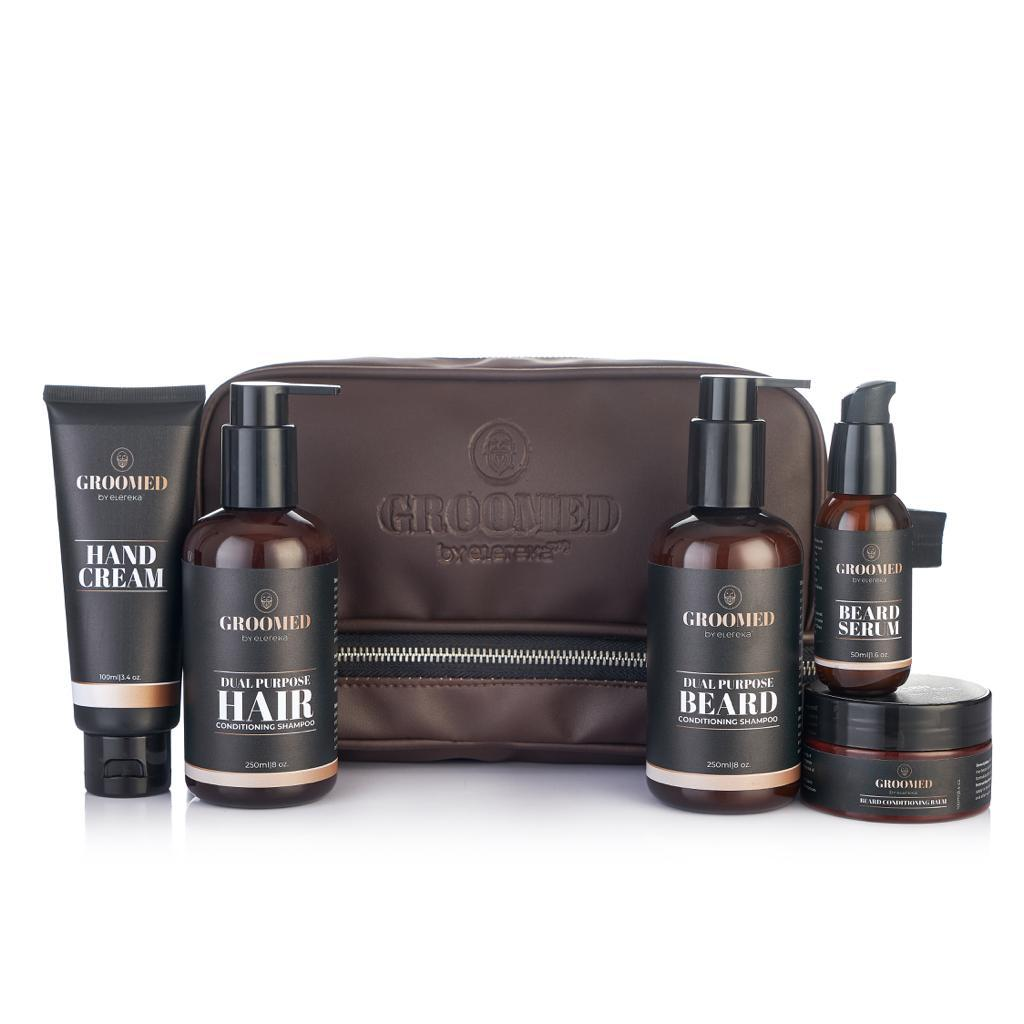 Groomed kit with hand cream and clipper bag (in brown)