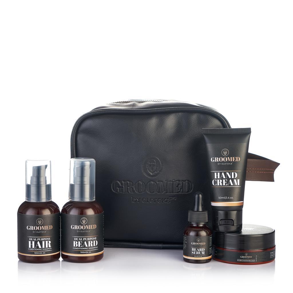 Groomed travel kit with toilet bag