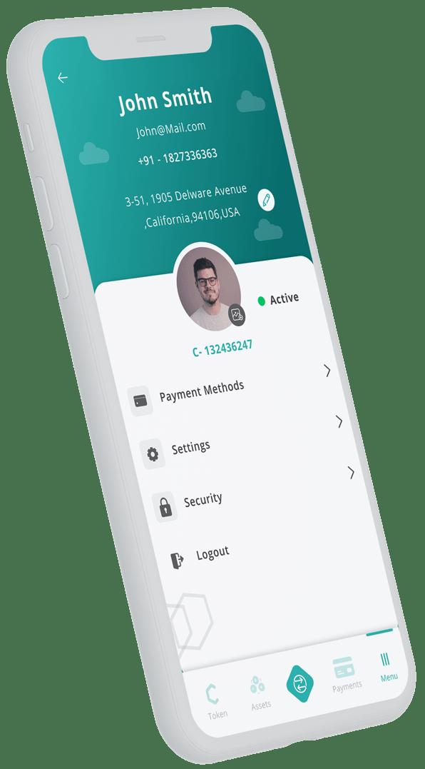 Coyni app profile screen on mobile device