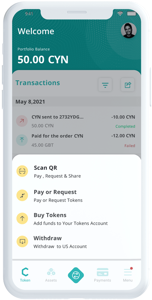 Coyni app transaction screen buying tokens on a mobile device