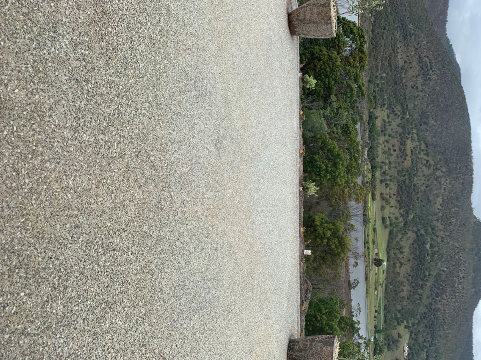 Con-Tek concrete pavement large area with mountain scenery
