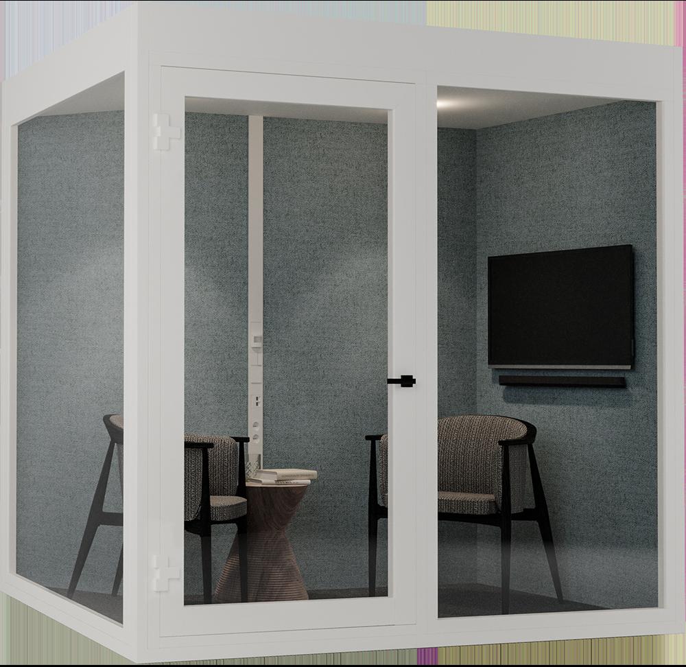 Stillerom for 2-4 personer. QuietPod Work muliggjør spontane medarbeidermøter og kundemøter. Dette er en virkelig arealeffektiv løsning for åpne kontorlandskap.