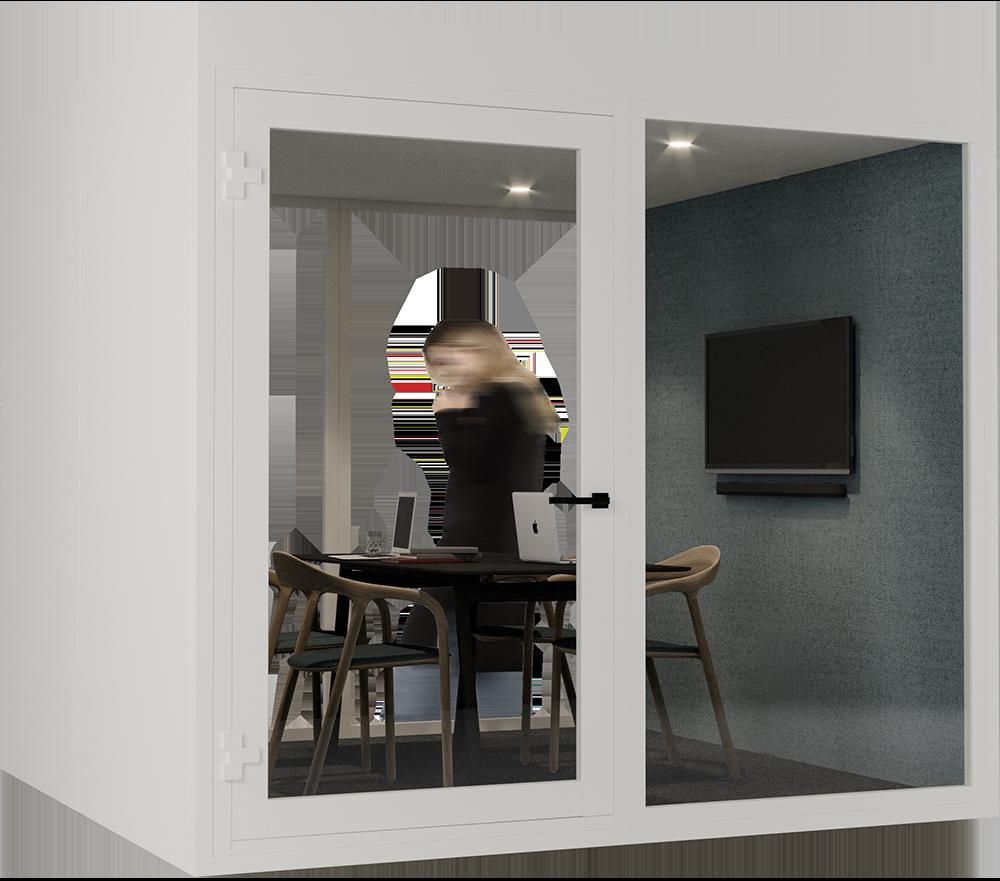 Stillerom på hjul for 4-6 personer. QuietPod Conference gir rom for stor variasjon av type innredning og bruk. Videokonferanse i kombinasjon med møterom eller hvilerom er noen av mulighetene.