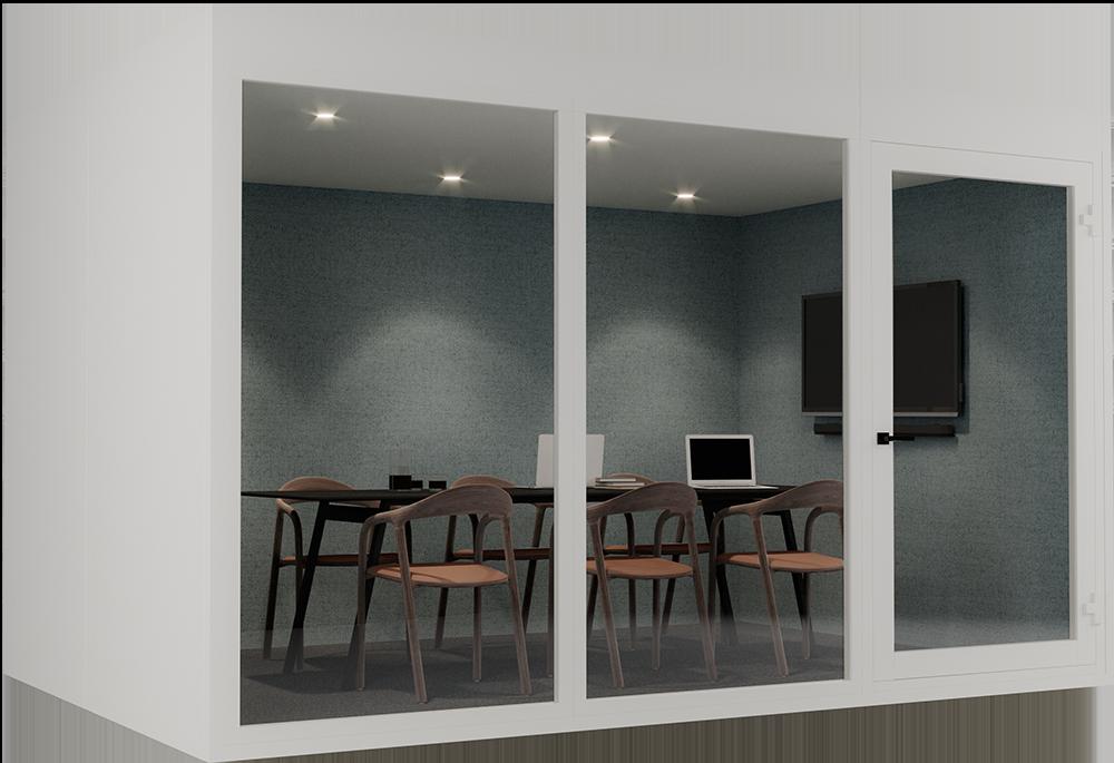 Vår største modell i serien tillater mange varierte bruksommråder for opptil 8 personer. Innred med lounge sofa eller møblering til styremøter og videokonferanse. Denne går også på hjul og kan enkelt flyttes etter montering som de mindre modellene.