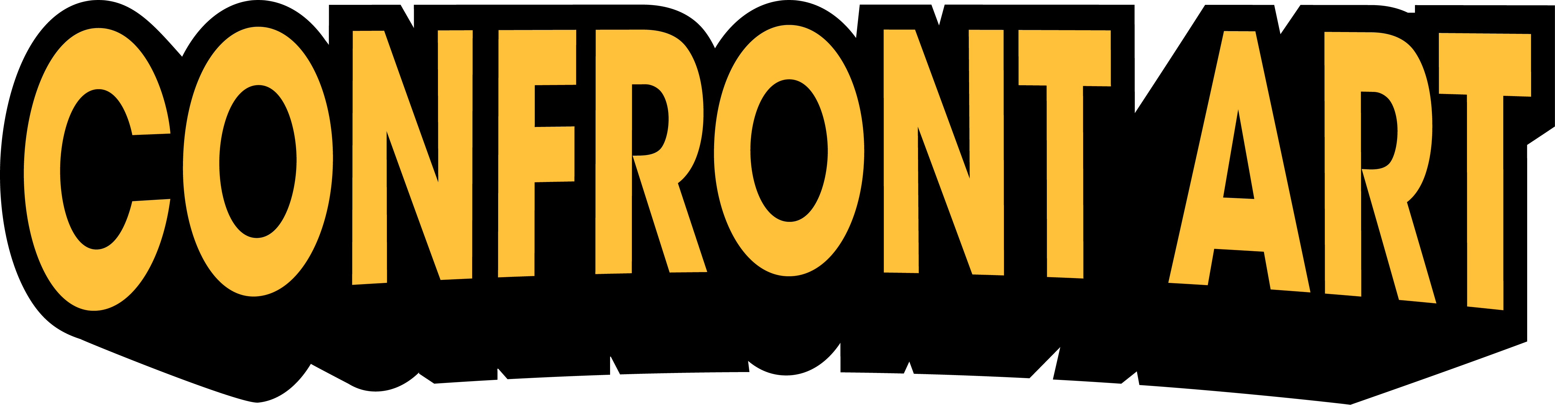 Confront Art Logo. Large Yellow And Black Text.