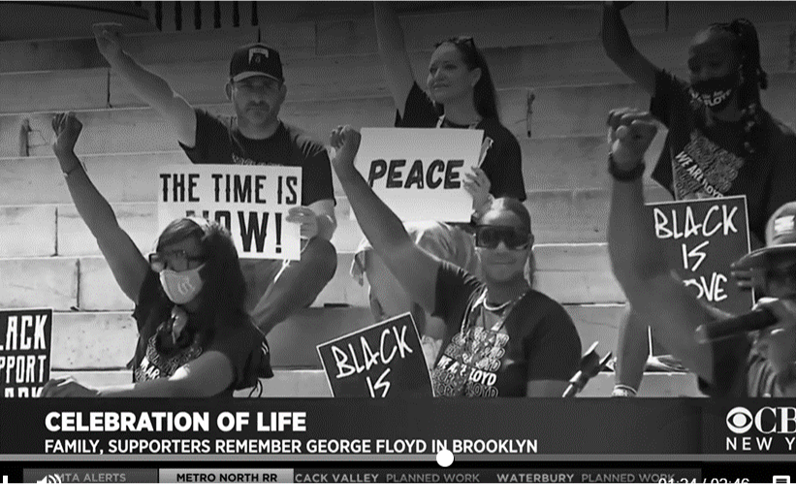 Screenshot of Confront Art team protesting on the national news.
