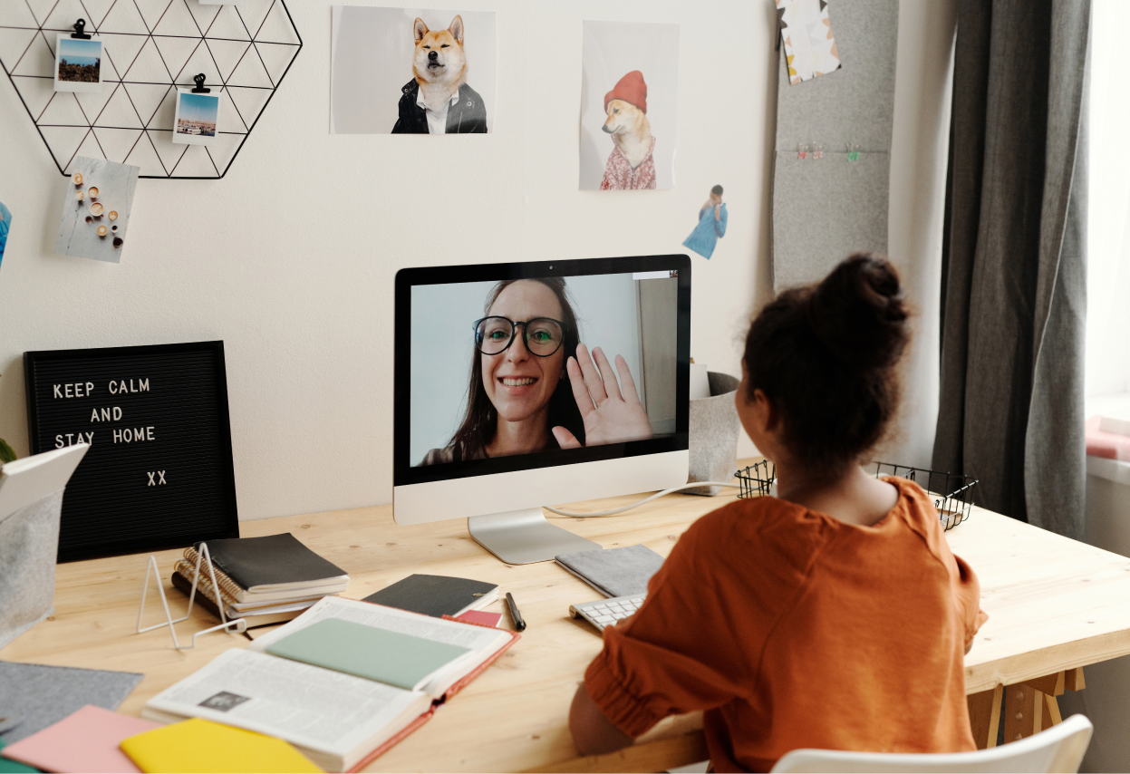 Girl Meeting Math Tutor Online