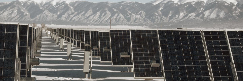 long row of solar panels