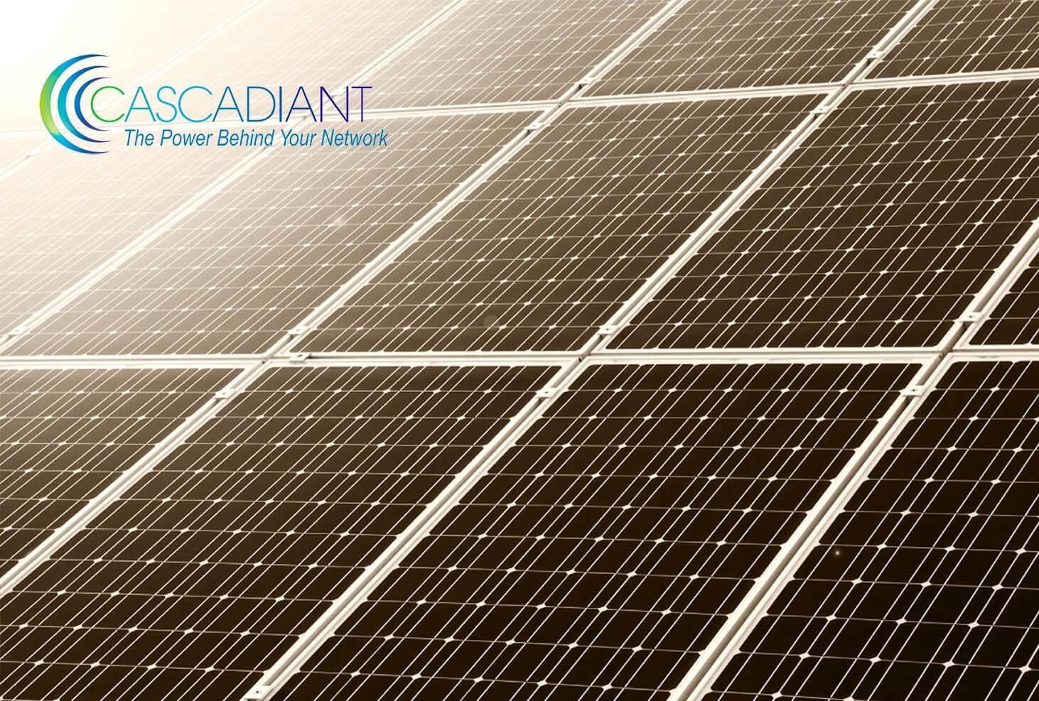 Solar panels with Cascadiant logo