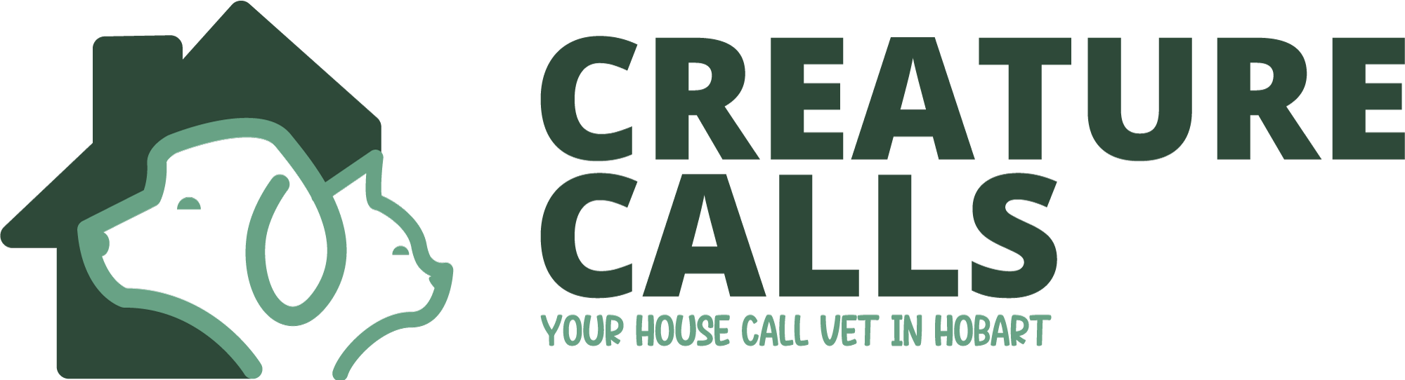 creature calls logo of cat and dog in green