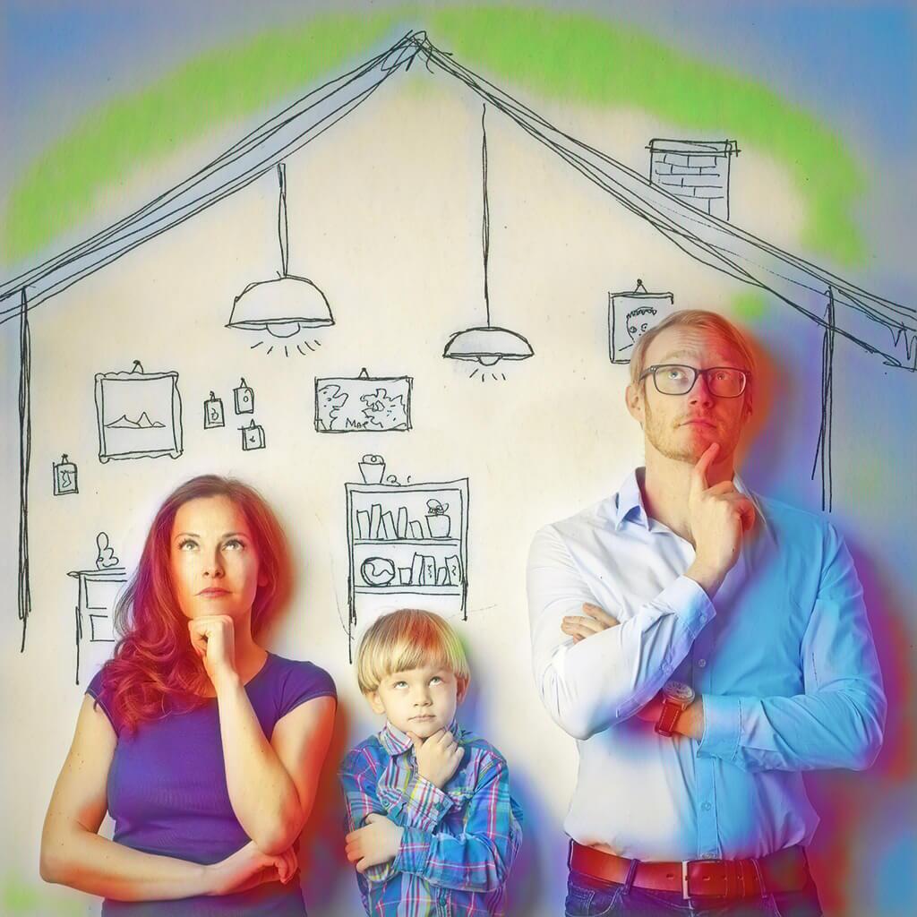Eine Familie beim nachdenken
