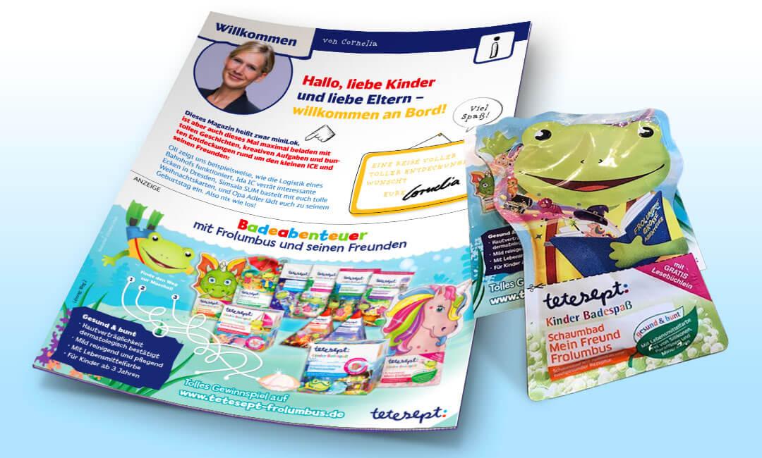 Sampling und Anzeige in den Magazinen für Kinder der Deutschen Bahn.