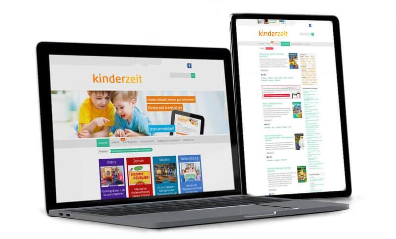 Kinderzeit-Website und Kinderzeit-Newsletter auf dem Monitor
