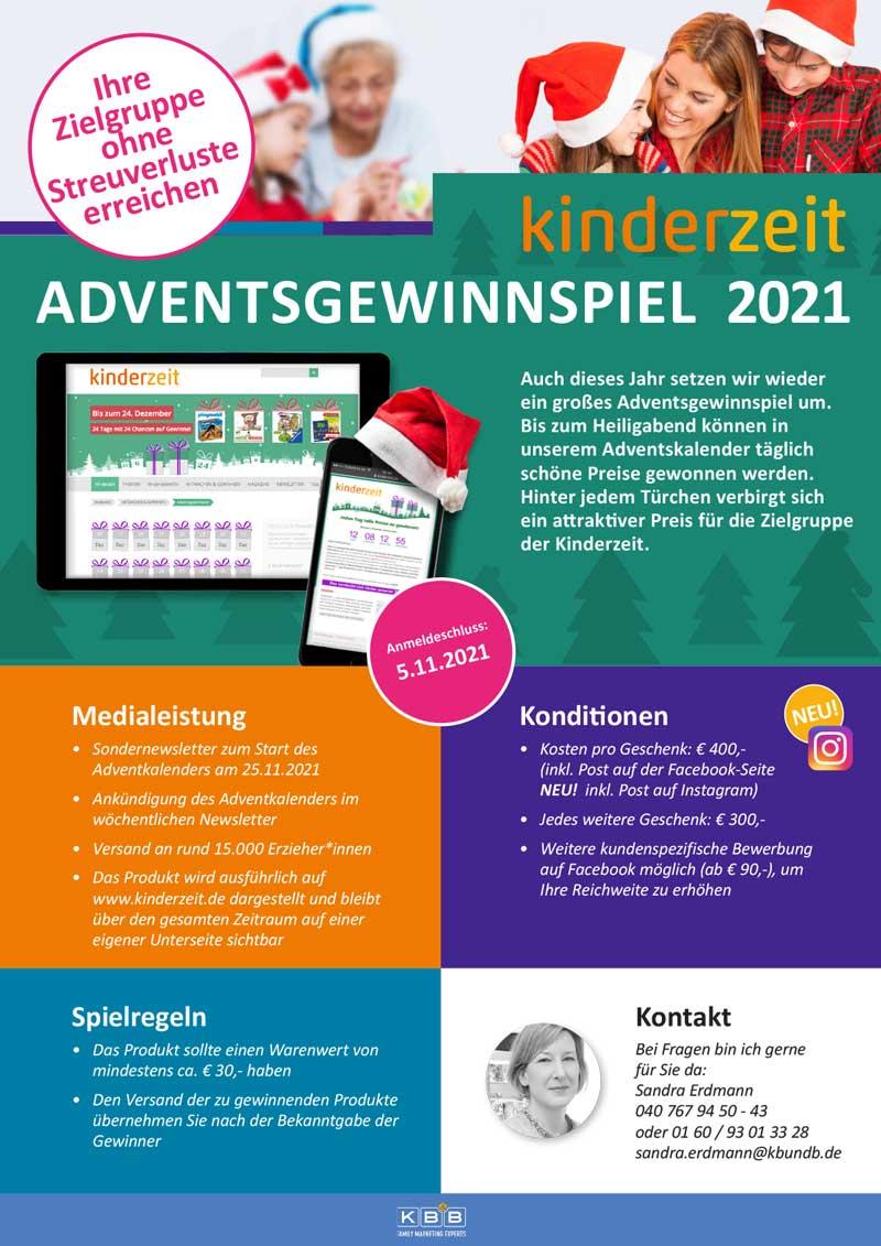 Infoblatt zum kinderzeit-Adventskalender 2021