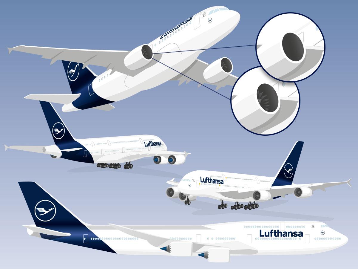 """Kindliche Illustration der Lufthansa Flotte und Gestaltung eines """"Knuffelfliegers"""""""