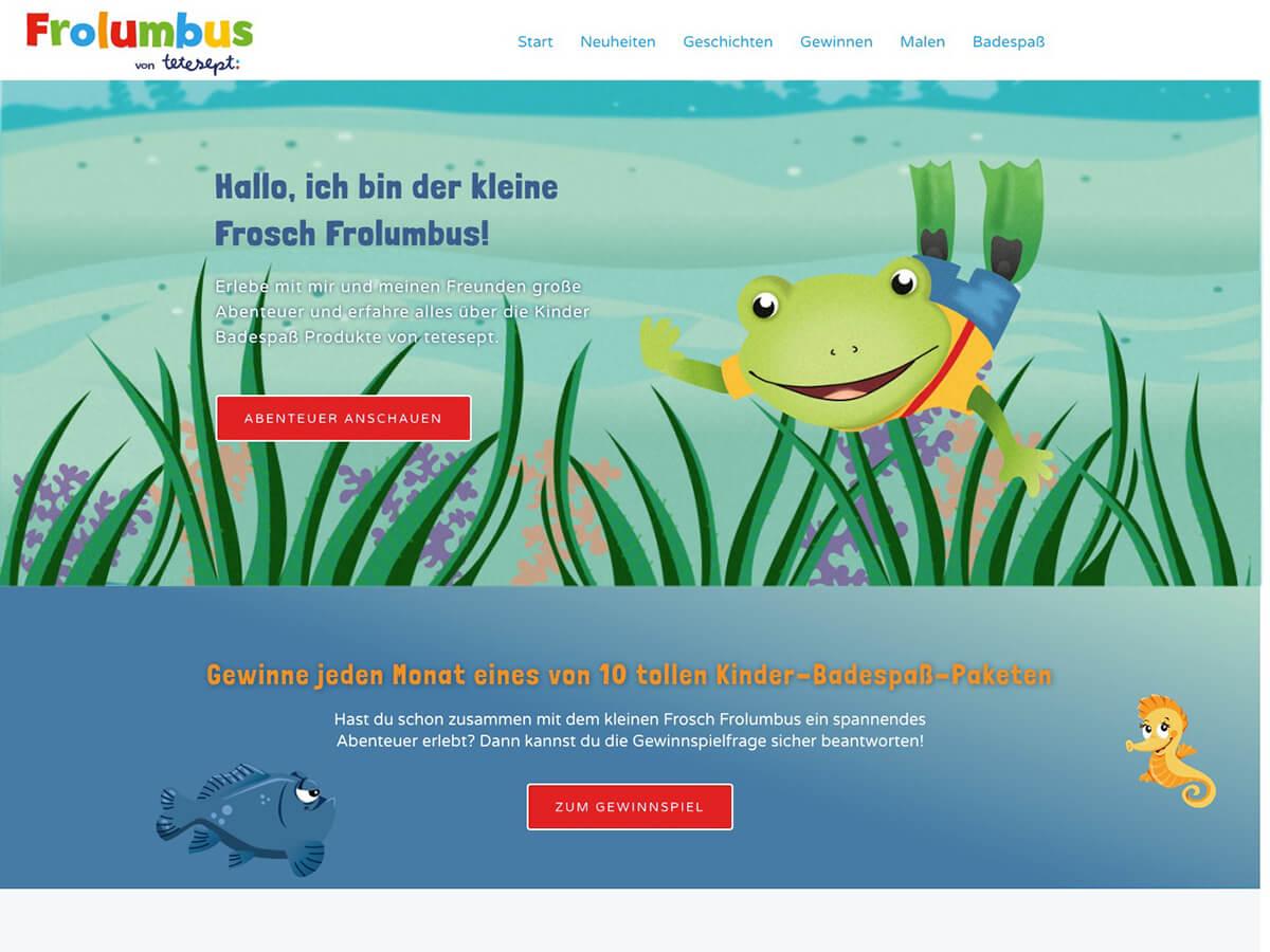 Frosch Frolumbus badet nun auch online