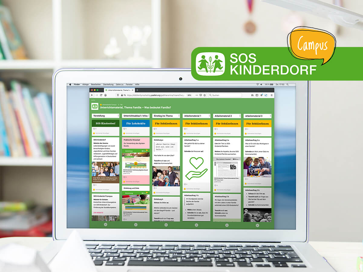 Das digitale Board  mit den Inhalten von SOS Kinderdorf