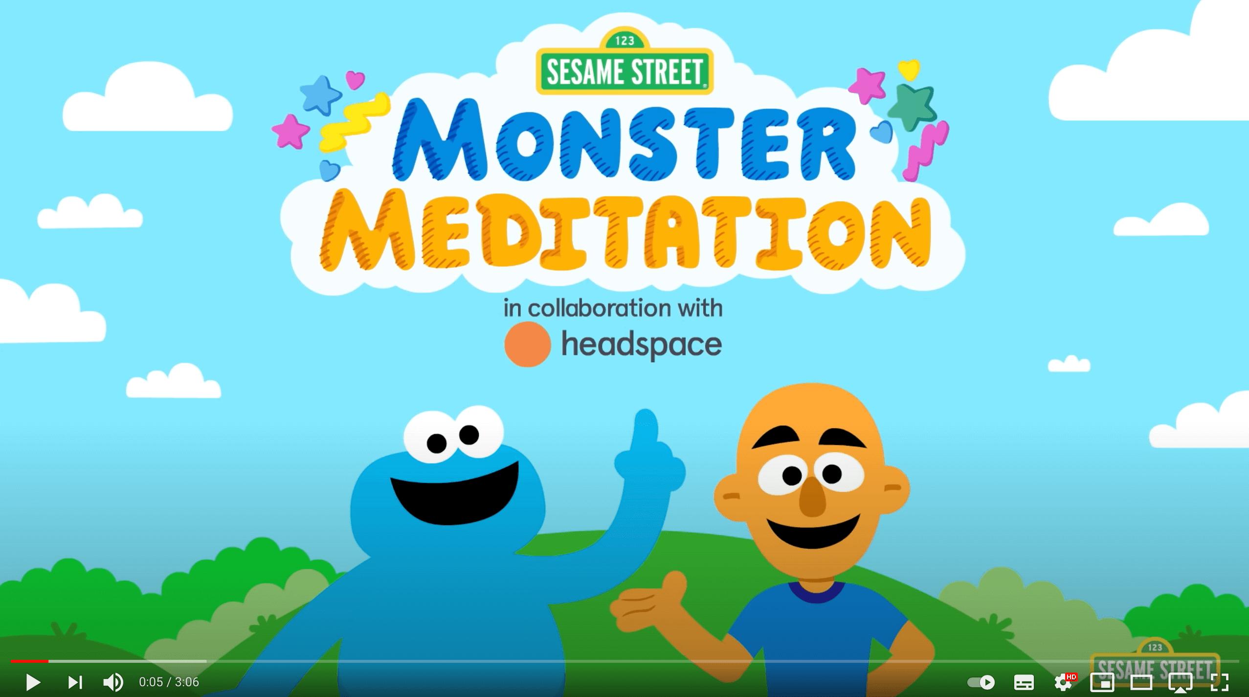 """Gemeinsam mit der beliebten Meditations-App Headspace hat Sesame Street unter dem Namen """"Monster Meditation"""" ein Programm aus sanfter Musik, Soundeffekten und geleiteter Meditation speziell für Kinder entwickelt. Es beinhaltet Videos, eine Podcast-Reihe und Bücher und soll Kindern nicht nur beim Einschlafen helfen, sondern schon früh die Mittel der Meditation an die Hand geben."""