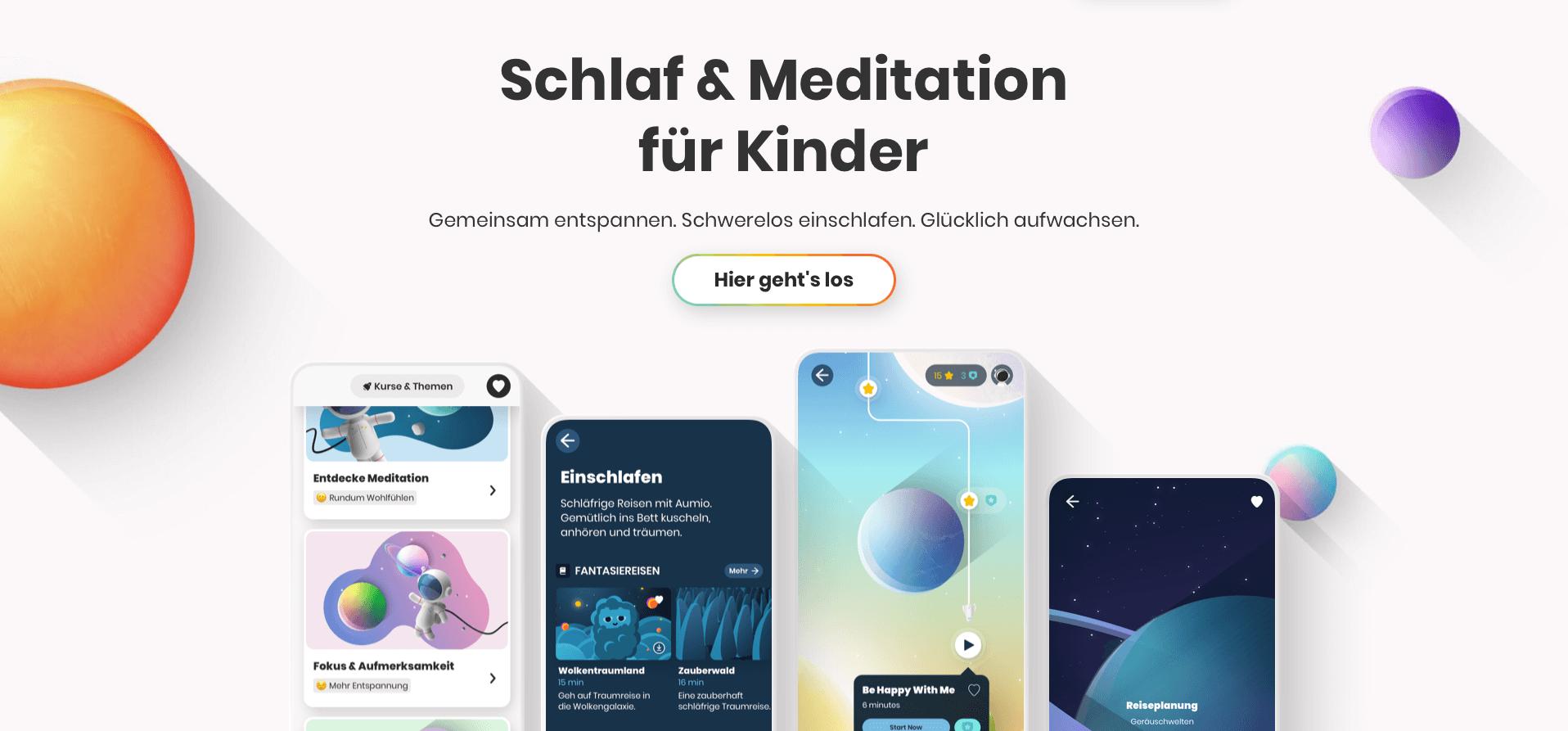 Aumio ist eine App, die Kindern hilft, sich zu entspannen und besser einzuschlafen - oder auch im Klassenraum gemeinsam zu meditieren. Entwickelt wurden die Inhalte von Expert:innen von der Freien Universität Berlin, Förderung gab es unter anderem von der AOK und dem Deutschen Roten Kreuz.