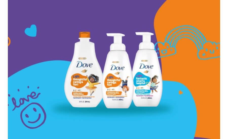 """Dove hat in der USA eine neue Palette an Kinderprodukten an den Markt gebracht (inklusive """"Slime Wash""""). Im Zusammenhang mit Doves """"Self-Esteem Project"""" erhält man über QR-Codes auf den Produkten Zugang zu Mini-Games und Online-Ressourcen, die Eltern helfen, mit ihren Kindern über Themen wie Bullying, Diversity oder Body Positivity zu sprechen."""