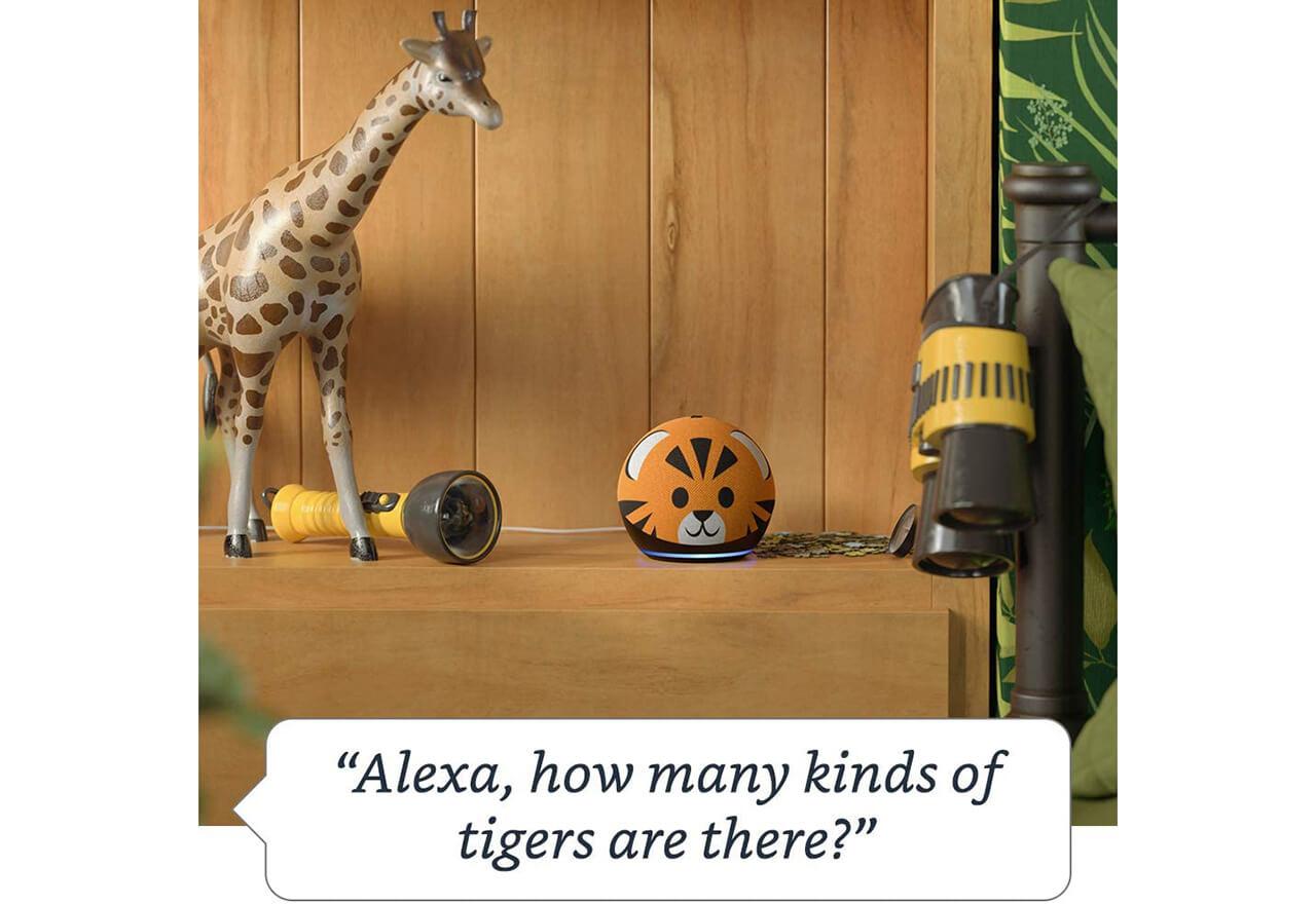 Amazon bietet (in UK und den USA) eine Kinderversion seines Smart Speakers Echo Dot im Tiger- oder Pandadesign an.