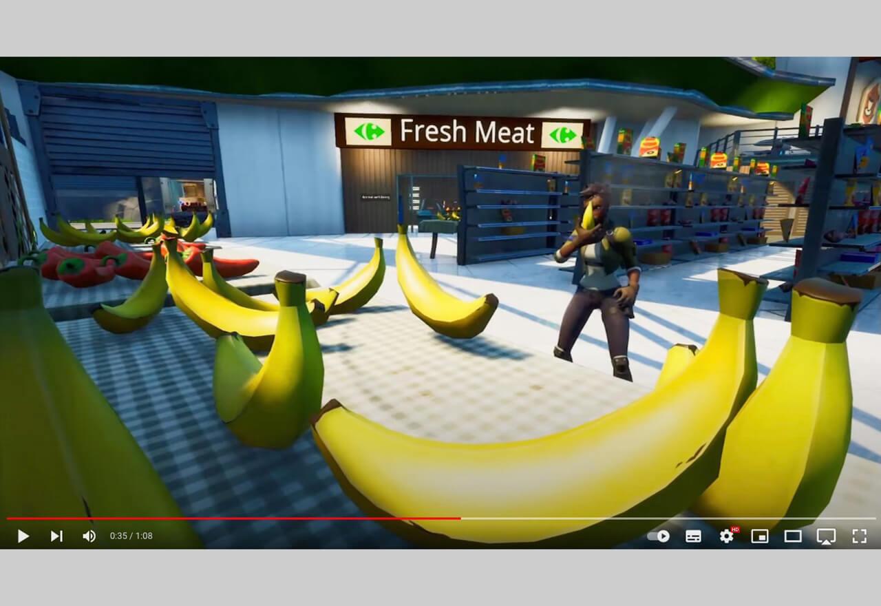 """Der französische Supermarkt Carrefour hat in Fortnite eine """"Healthy Map"""" eingerichtet, wo Spieler ihre Avatars """"heilen"""" können, indem sie Obst, Gemüse oder Fisch aus einem virtuellen futuristischen Supermarkt essen."""