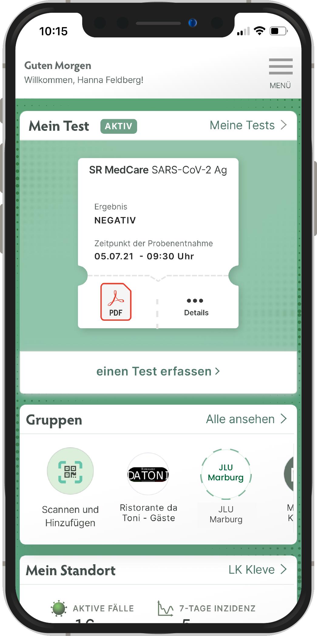 Mit der MedCare App erfassen Sie im Handumdrehen Ihren Corona-Schnelltest zur Selbstanwendung, also für Laien.